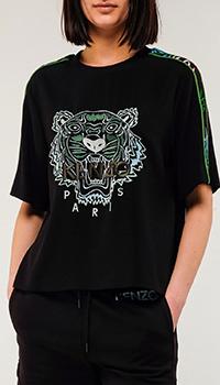 Черная футболка Kenzo с принтом в виде тигра, фото