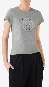 Серая футболка Kenzo с изображением тигра, фото
