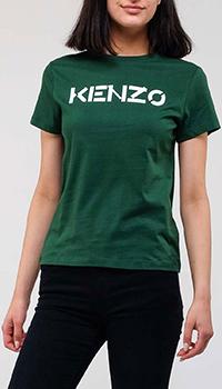 Зеленая футболка Kenzo с брендовым принтом, фото