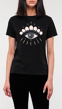 Черная футболка Kenzo с изображением глаза, фото