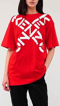 Красная футболка Kenzo с логотипом, фото