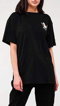 Черная футболка Kenzo с принтом лошадей, фото