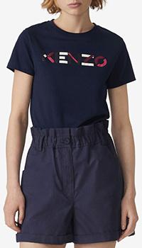Хлопковая футболка Kenzo темно-синего цвета, фото