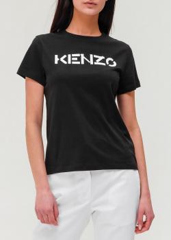 Черная футболка Kenzo с фирменным принтом, фото