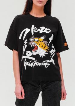 Черная футболка Kenzo с широкими рукавами, фото