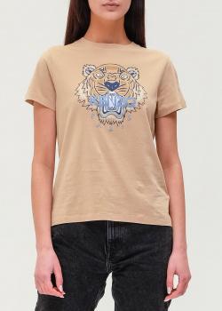 Хлопковая футболка Kenzo бежевого цвета, фото