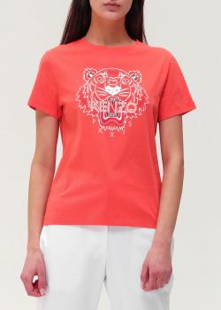 Коралловая футболка Kenzo с принтом в виде тигра, фото