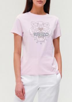 Розовая футболка Kenzo из хлопка с рисунком, фото