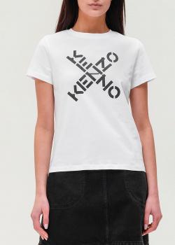 Белая футболка Kenzo с брендовым принтом, фото