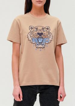 Бежевая футболка Kenzo с рисунком в виде тигра, фото