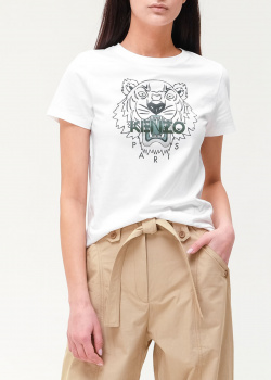 Белая футболка Kenzo с рисунком тигра, фото