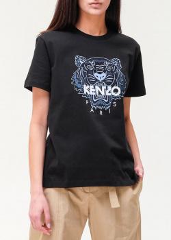 Черная футбока Kenzo с брендовой вышивкой, фото