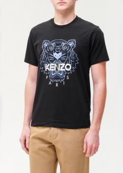 Темно-синяя футбока Kenzo с принтом в виде тигра, фото