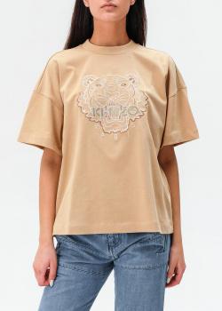 Бежевая футболка Kenzo свободного кроя, фото