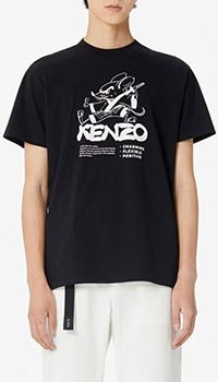 Черная футболка Kenzo Kung Fu Rat из хлопка, фото