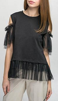 Трикотажный топ Kaos черного цвета с открытыми плечами, фото