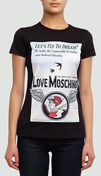Футболка Love Moschino белого цвета с принтом, фото