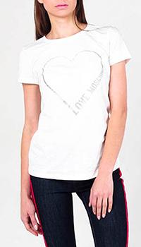 Футболка белая Love Moschino с сердцем, фото