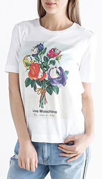 Футболка Love Moschino с цветочным принтом, фото