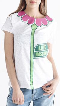 Белая футболка Love Moschino с принтом-цветком, фото
