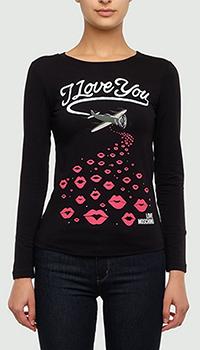 Черный лонгслив Love Moschino с принтом, фото
