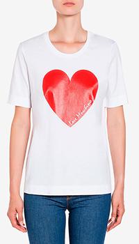 Белая футболка Love Moschino с принтом в виде сердца, фото
