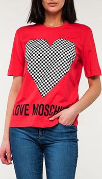 Красная футболка Love Moschino с рисунком, фото