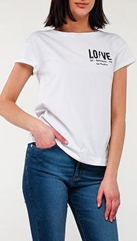 Футболка Love Moschino с брендовым принтом, фото