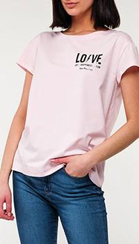 Розовая футболка Love Moschino с принтом, фото