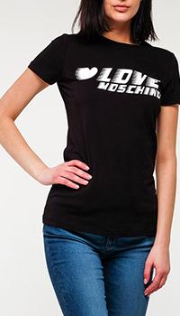 Черная футболка Love Moschino с надписью, фото