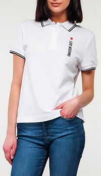Белое поло Love Moschino с логотипом, фото