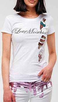 Белая футболка Love Moschino Ice Cream с вышивкой пайетками, фото