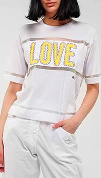 Белая футболка Love Moschino с прозрачными вставками, фото