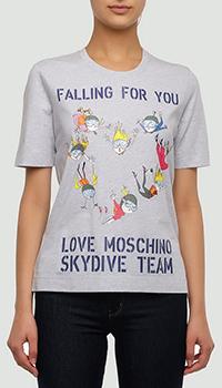 Серая футболка Love Moschino из хлопка с принтом, фото
