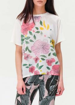 Белая футболка Max Mara Weekend с цветочным принтом, фото