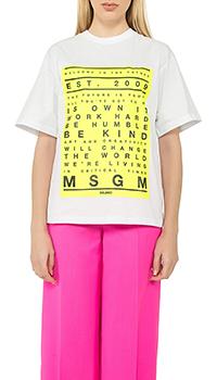 Белая футболка MSGM с принтом, фото