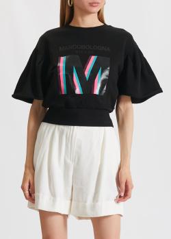 Черная футболка Marco Bologna с фирменным принтом, фото