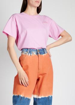 Розовая футболка Nina Ricci с логотипом, фото