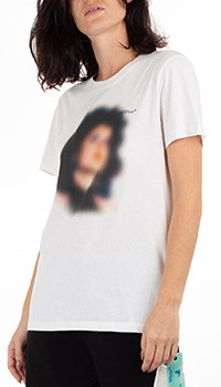 Белая футболка Off-White с размытым принтом, фото