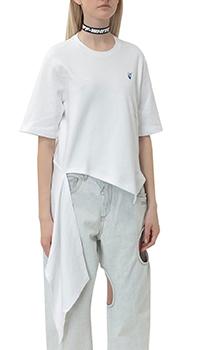 Асимметричная футболка Off-White белого цвета, фото