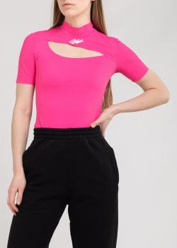 Розовая футболка Off-White с вырезом на груди, фото