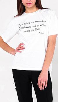 Белая футболка Peserico с принтом-надписью, фото