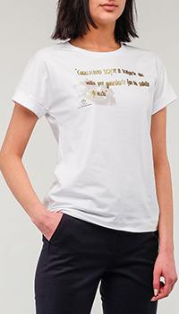 Белая футболка Peserico с надписью, фото