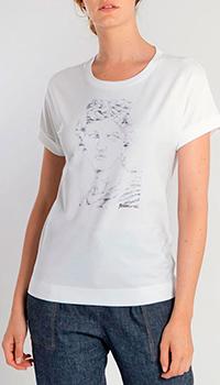 Белая футболка Peserico с брендовым принтом, фото