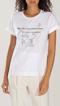 Хлопковая футболка Peserico белая с принтом, фото