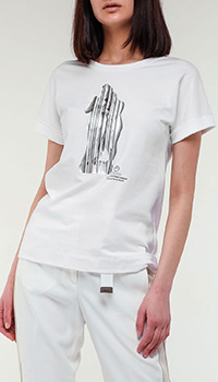 Белая футболка Peserico с принтом, фото