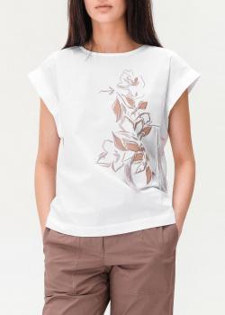 Белая футболка Peserico с цветочным принтом, фото