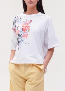 Белая футболка Peserico с рисунком цветов, фото