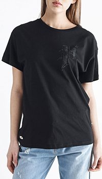 Черная футболка Philipp Plein с декором-стразами, фото