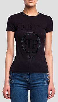Черная футболка Philipp Plein P.L.N. с принтом, фото